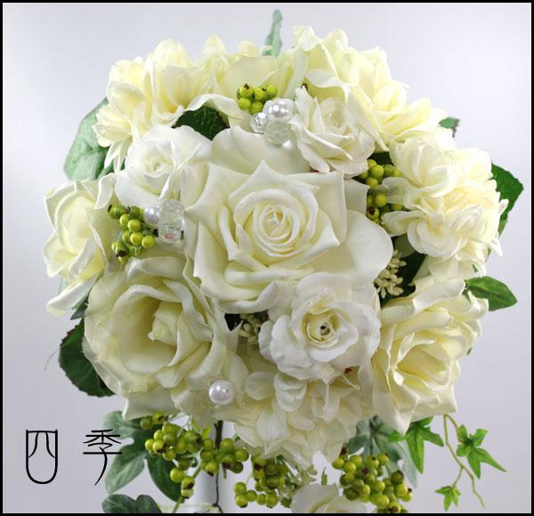 ブーケ*造花:ウェディングブーケ*ホワイト*3点セット*ベリー*結婚